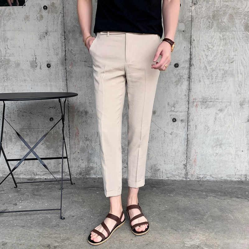 スーツ男性の夏パンツ/男性のベージュビジネスパンツ/春と夏さわやかクラシックベージュスリムドレープ男性のズボン