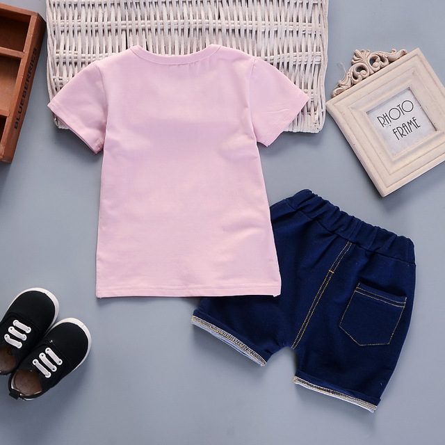 Newborn sky t-shirt and blue short for baby boy 2