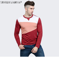 2018 Spring New Style T Shirt Men Personality Color Spell Big Body Features Neckline Men S