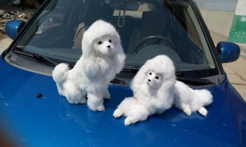 large dog  simulation poodle toy white fur model ornament photography prop home decoration gift h1400