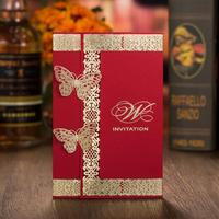 Gold Foil Two Butterfly Laser Cut Wedding Invitation Card Customized Printing Luxury Invitation Cards With Envelope
