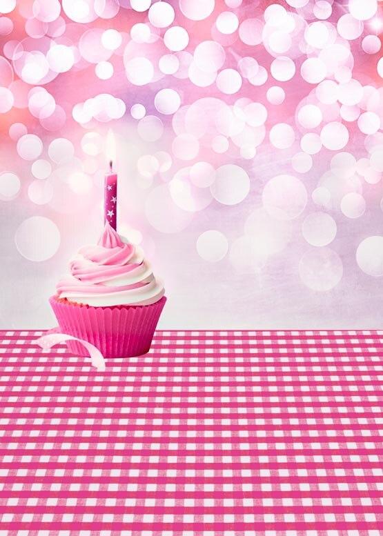 Personnaliser lavable sans rides gâteau rose fête d'anniversaire photographie décors pour enfants photo studio portrait arrière-plans S-940