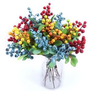 Искусственные ягоды Фрукты diy Цветы Дешевые синие ягоды рождество дом свадьба декоративная искусственная Цветочная композиция поддельные ...
