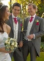 CUSTOM MADE TO MEASURE Tailored men's BESPOKE tuxedos/ tails,grey men suit tailcoat, men wedding suit(Jacket+Pants+Vest+Tie)