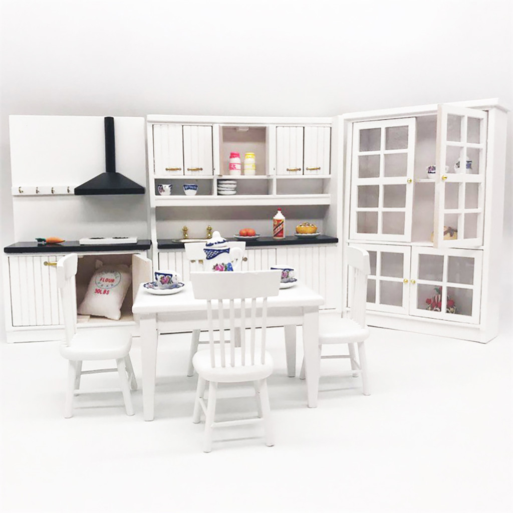 Miniature Kitchen 1:12 Mini Dollhouse Kitchen Dining Table and Chair Cabinet Set Cute Doll House Kids Pretend Toy Miniature C531