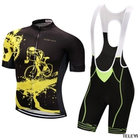 Cycling Set Men Summer Short Sleeve And Bib Shotrs Red Black Color Quick Dry Bicycle Set
