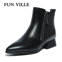 FUN VILLE 2017 New Fashion High Quality Women Boots Genuine Leather Autumn Women Ankle Boots Pointed