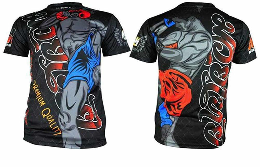 قمصان ذات أكمام قصيرة مفرغة من Arkwork MMA Rashguard Bjj Boxeo ملابس الملاكمة التايلاندية جيو جيتسو تي شيرت mma قابلة للتنفس الصالة الرياضية