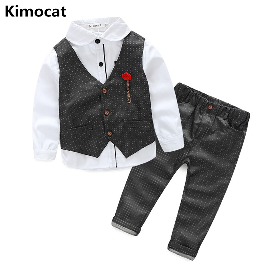 2017 Boys Clothing Sets Autumn Spring Shirt + Vest + Pants Boys Wedding Clothes Kids Gentleman Leisure Handsome Suit Free Ship