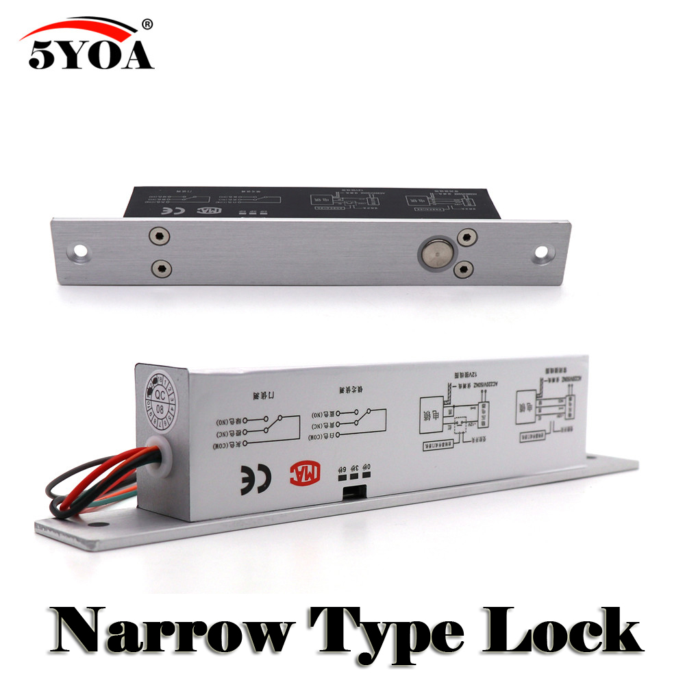 Narrow Door Electric Bolt Mortise Lock for Door Lock Access Control DC 12V Stainless Steel Fail Safe Secure NC NO Electronic 12v 5 wire electric bolt lock electric drop bolt lock with bolt status detection output fail safe fail scure