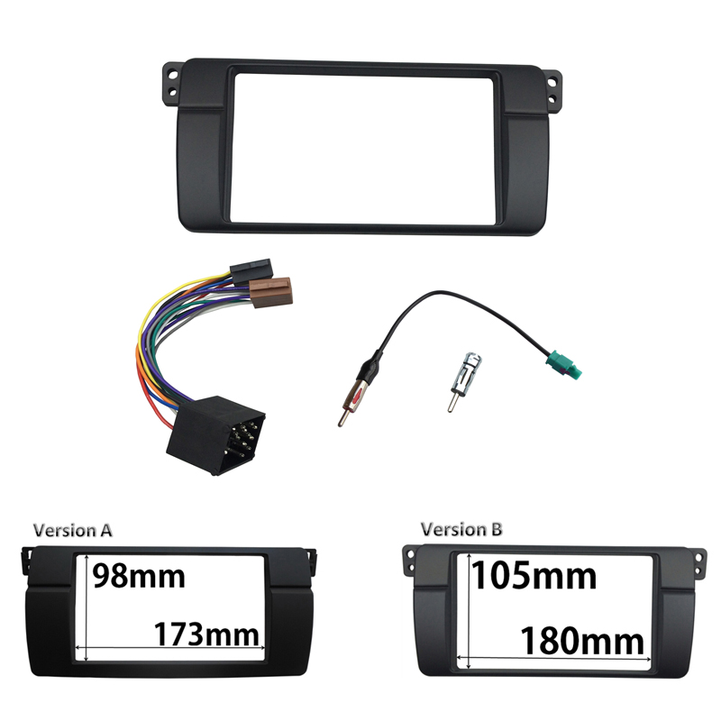 For BMW 3 Series E46 1998-2005 Radio DVD Fascia Double Din Stereo Panel Dash Mount Trim Kit Frame ISO Wiring + Antenna Adapter