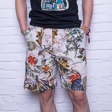Uwback летние мужские повседневные шорты с принтом Винтажные льняные шорты быстросохнущие пляжные шорты длиной до колена свободные классические бермуды XA605