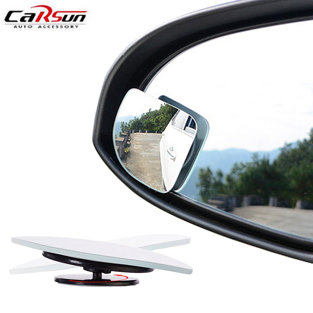 2Pcs Adjustable Car Blind Spot Mirror Fan-shaped HD Glass 360 Degree Car Rear View Mirror Wide Angle Round Convex Parking Helper