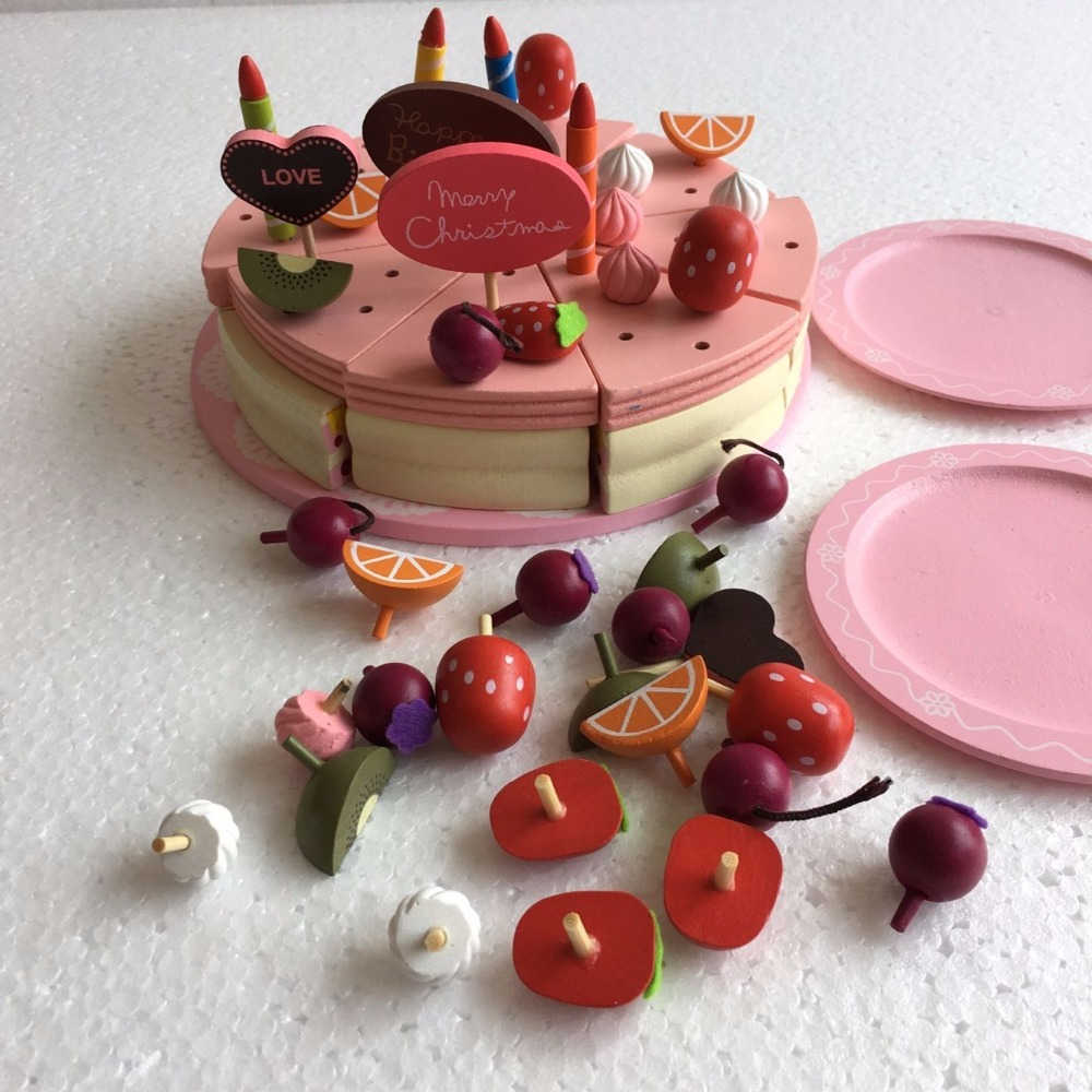 Baby Toy Decoration Cake Set Wooden Play Food Children Pretend Play Kitchen Toys girl birthday christmas