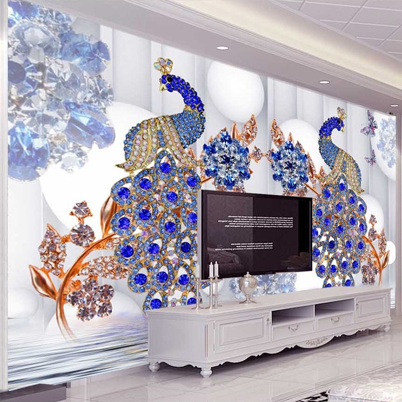 Custom Mural Wallpaper European Style Blue Peacock Jewelry Flower Luxury Wall Paper Living Room TV Sofa Backdrop Papel Mural 3 D custom 3d wallpaper mural chinese style flower and bird wallpaper restaurant living room bedroom sofa tv wall papel de parede