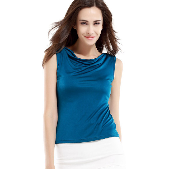 100% Pure Silk Women's Tank Tops Femme Solid Loose Women Fashion Sleeveless Shirt Ladies Cool Heaps Collar Tee Shirts Female