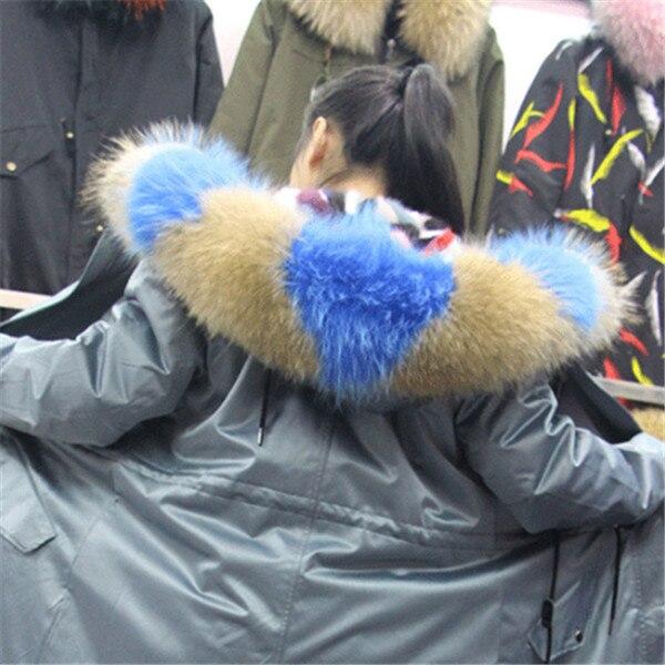 Горячая Распродажа, шарф из натурального меха, воротник 75*20 см, Женское зимнее пальто, меховые шарфы, роскошный мех енота, настоящие зимние теплые грелки для шеи, Shaw - Цвет: sky blue