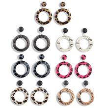 Acrylic Leopard Snake Print Round Drop Earrings Women Tortoise Shell Jewelry