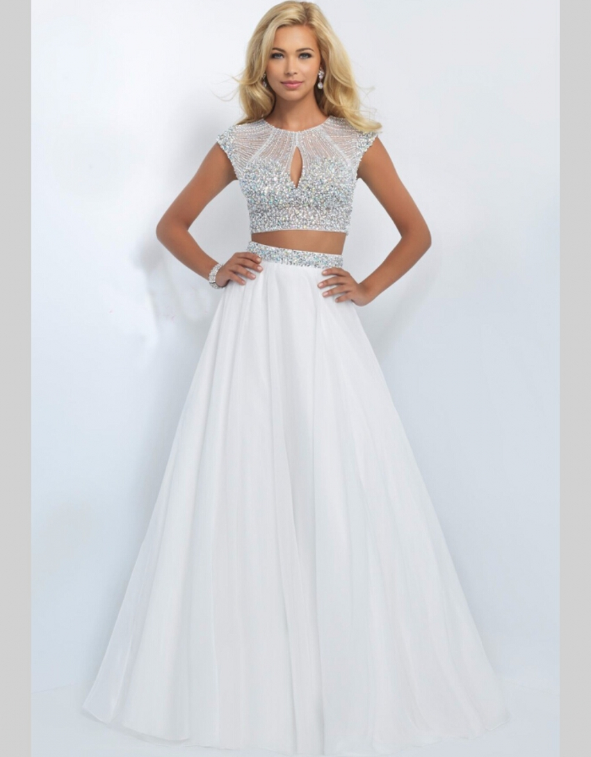 Online Shop 2 Two Pieces Blush Prom Dresses For Girl 2015 Crystal ...