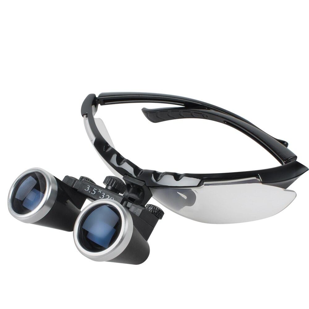 3.5X320mm Optical Glass Loupe Haut de gamme De Luxe Marque Nouveau Dentiste Noir Chirurgie Dentaire Binoculaire Médicale Loupes