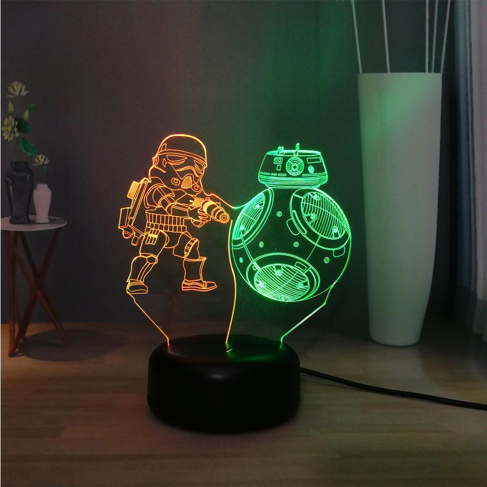 Hot Sale Star Wars Series Figure Cool Double Storm Troops Double 7 Color LED Novel Home DEC Night Lamp Children Holiday Gift Toy image