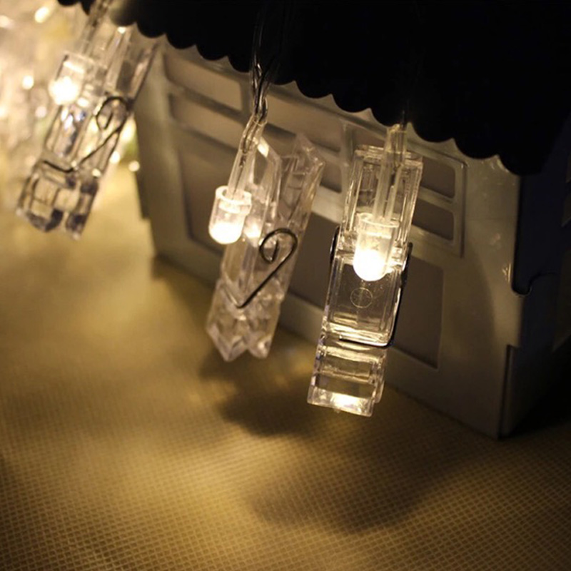 holiday lighting 1m 10led 2m 20led card photo wall clip fairy led string light home christmas decoration battery operated lamps in led string from lights