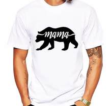 Summer Black Mama Bear Design T Shirt Men's High Quality Custom Printed Tops Hipster Tees Forest Bear Men T-Shirt Short Sleeve(China)