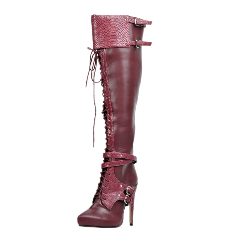 Burgundy Pu High Heels Shoes Women Boots Stilettos Heels Faux Soft Leather Boots For Ladies Spring Style 2017 New Size 12 alfani women s faux wrap jersey dress 3x new burgundy