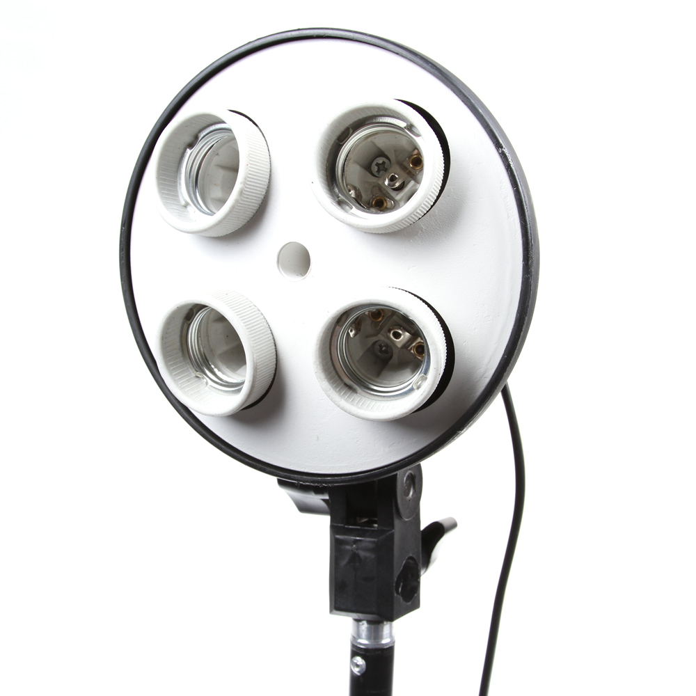 4 Socket E27 Lamp Bulb Head Photo Video Studio Light Umbrella Bracket Holder EU plug