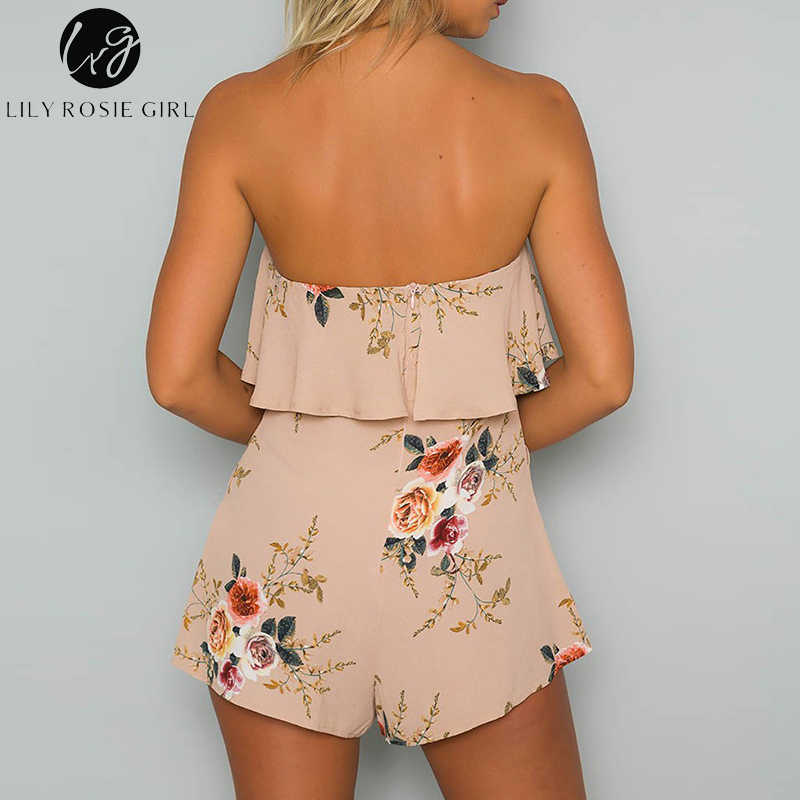 98455dc0c3d78 Lily Rosie Girl Off Shoulder Khaki Floral Print Sexy Playsuits Women Sexy  Summer Beach Short Rompers Jumpsuits Boho Overalls