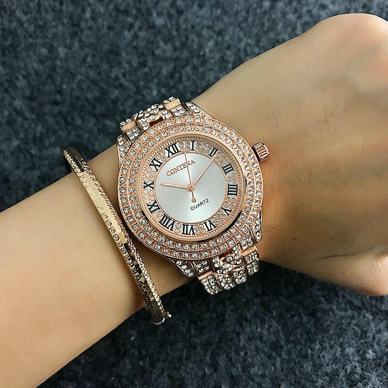 2017 New Full Crystal Contena Watch Luxury Montre Watch Femme Fashion Ladies Women Rhinestones Watches Quartz