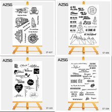 AZSG French Clear Stamps For Scrapbook DIY Photo Cards Account Rubber Stamp Finished Transparent Chapter Size 11*16cm недорго, оригинальная цена