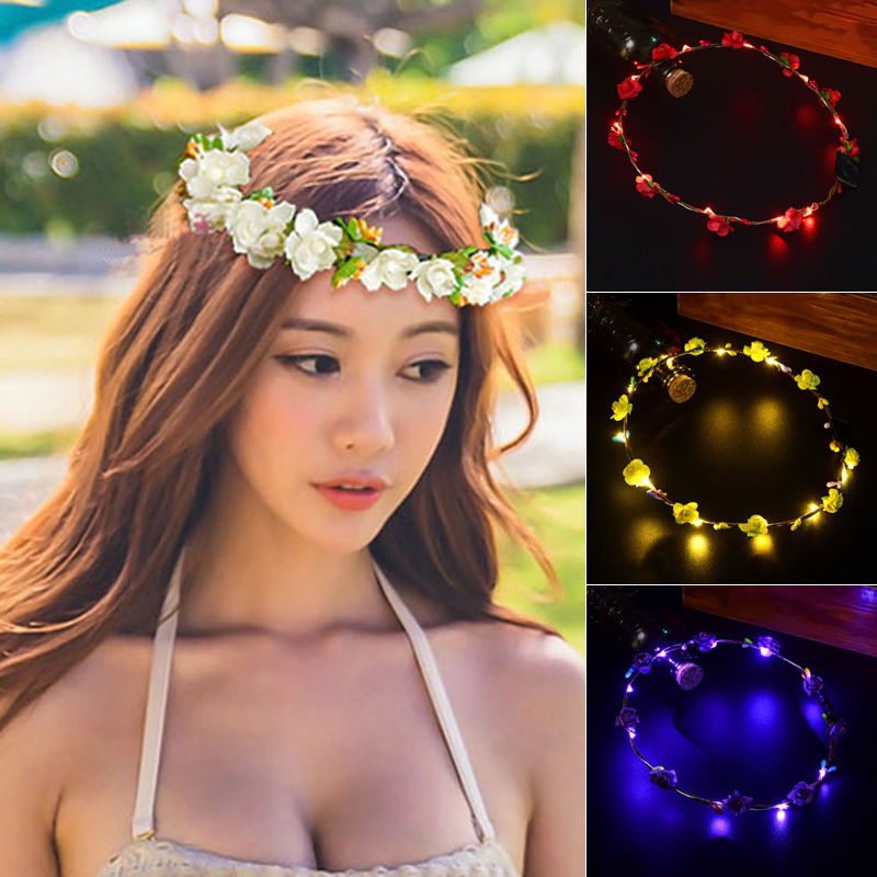 Hirigin Eight Colors Women And Men Fashion Floral LED Light up Party Newest Headwear