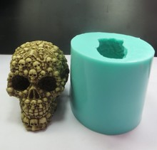 QT0005 Silicone Mold skull Soap Mould with many small skulls 3d Handmade Candle Food Grade mould PRZY