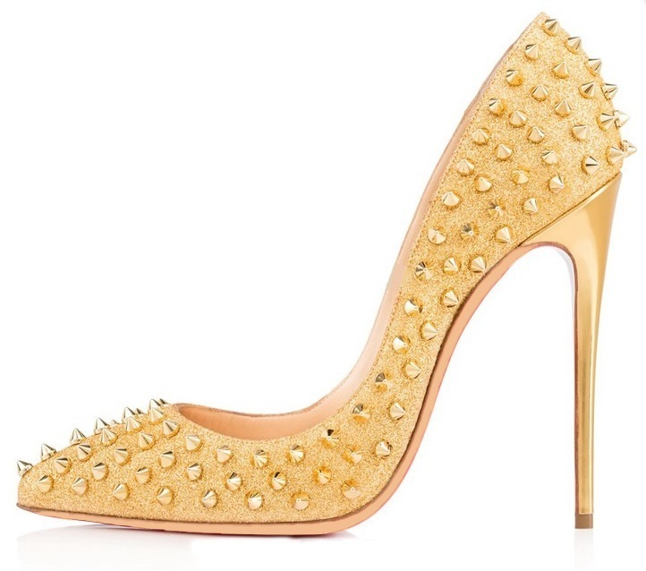 цена на Sexy Gold Glitter Rivets Shoes Pumps Pointed Toe High Heels Pumps 12cm Spikes Studded Stiletto Shoes Women Formale Shoes