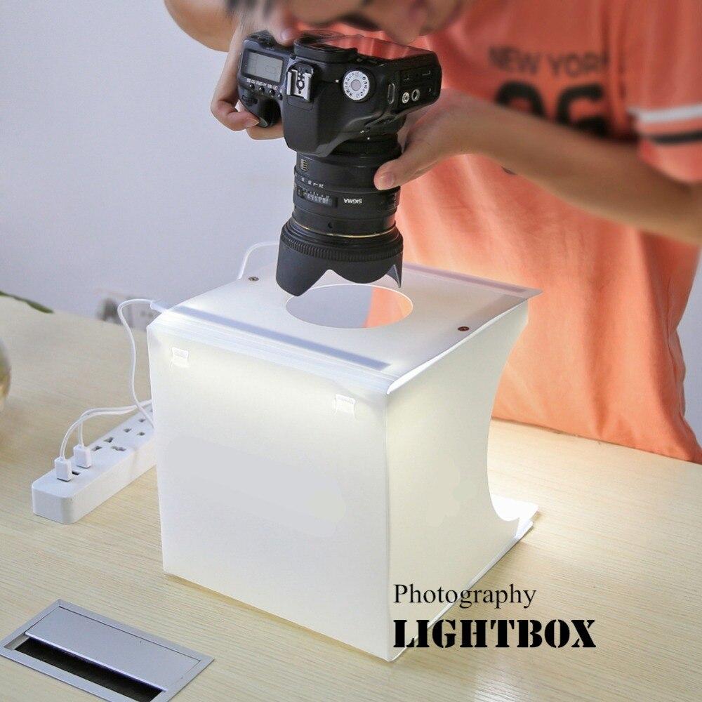 Photography Folding Lightbox Take Photo Studio Softbox 2 Panel LED Light Soft Box Photo Background Kit Light box for DSLR Camera