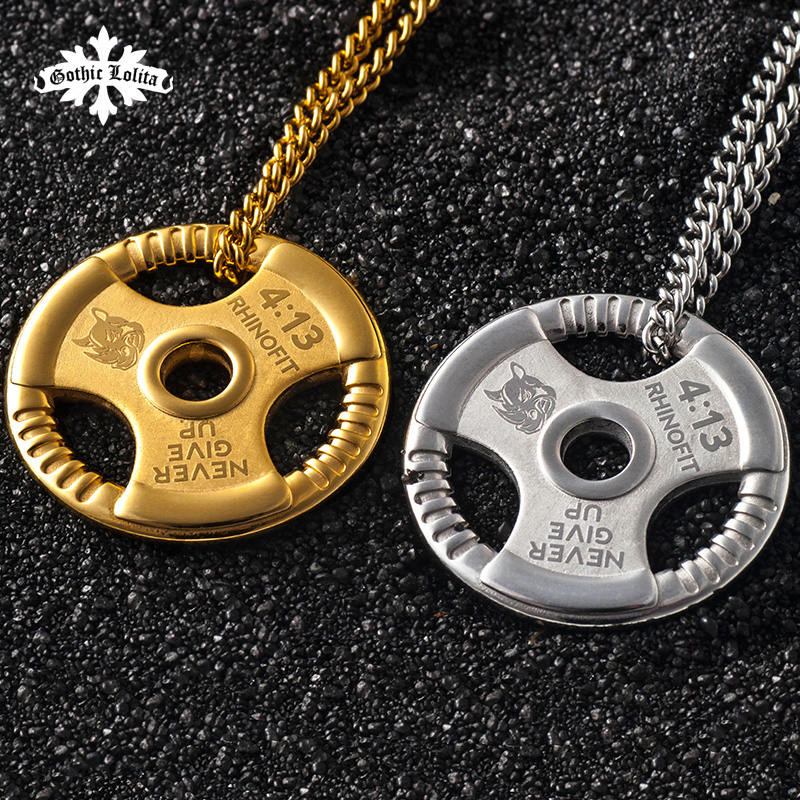 Weight Plate Barbell Dumbbell Pendant Weightlifting Bodybuilding Fitness Crossfit Gym Exercise Necklace adjustable water dumbbell weights for fitness and bodybuilding equitment high quality