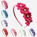 1 шт. Атласной Лентой Цветов горный хрусталь девочка диапазон волос цветок Корейский стиль принцесса повязка дети аксессуары для волос