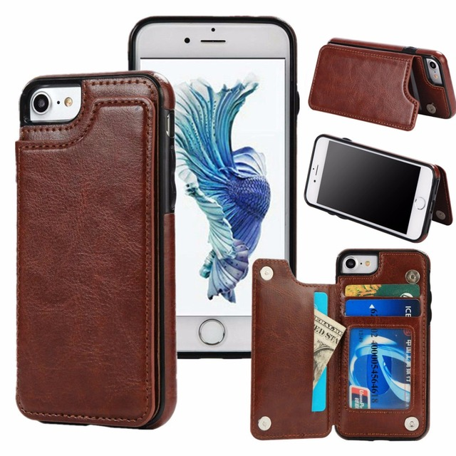 slim leather wallet credit card holder stand cover case for iphone x 6 6s 7 8