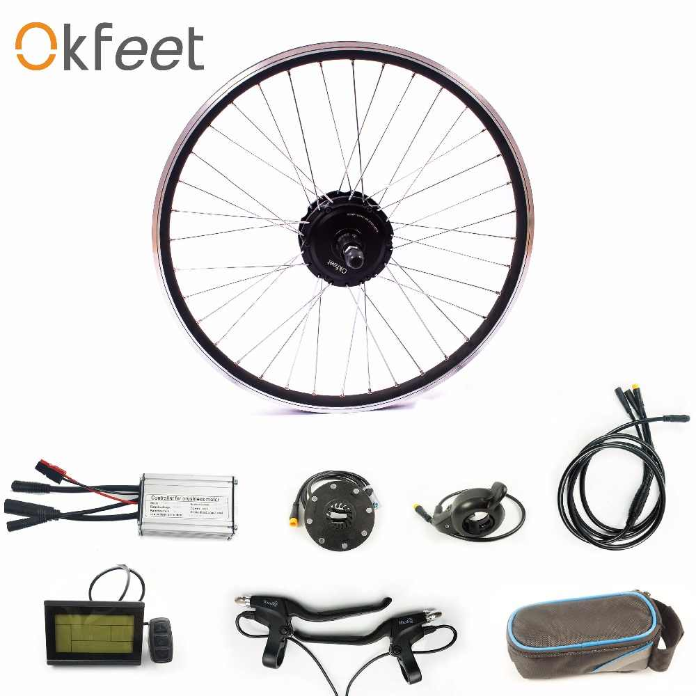 "okfeet 36V250W rear rotate motor electric bicycle kit with LCD3 display  For 16"" 20""24""26""28"" Wheel Rim Hub Spokes"