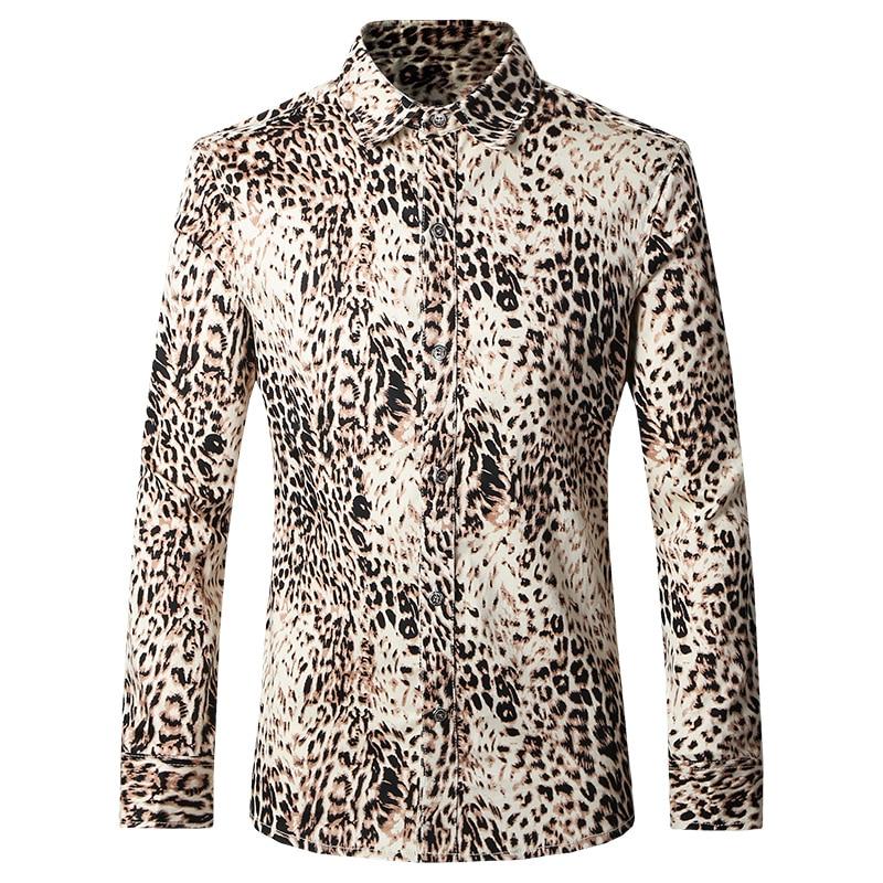 2016 Autumn Leopard Printed Men Shirts Camisa Masculina Fashion Casual Designer Brand Printing Shirts T0069