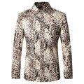 2016 Otoño Leopard Impreso Camisas de Los Hombres Camisa Masculina Moda Casual Primera Marca de Impresión Camisas T0069