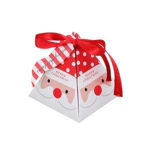 Image 4 - 10 PCS/Set Merry Christmas Candy Box Bag Christmas Tree Gift Box With Bells Paper Box Gift Bag Container Supplies Navidad