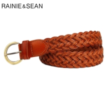 RAINIE SEAN Brown Wide Braided Belt Belts For Women Casual Bohemian Waist Circle Buckle Accessories Trousers