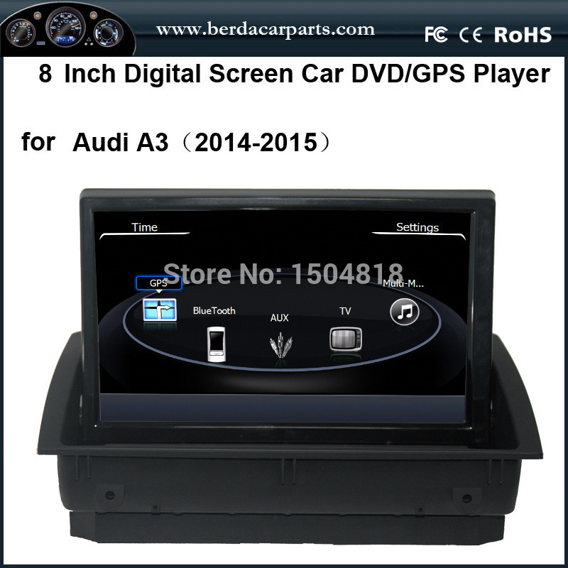 Car stereo audio DVD player for Audi A3(2014-2015),OSD multi-language,8″ digital touch screen with GPS