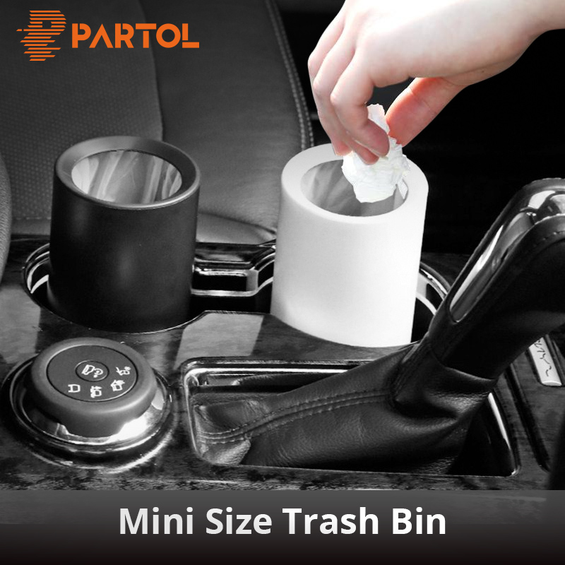Partol Mini Car Trash Bin Garbage Can Dust Case Holder Office Home Auto Vehicle Open Mouth Rubbish Bin Black White Car Styling mini soft silicone car trash bin rolling cover type garbage cup dust rubbish box container organizer interior accessories