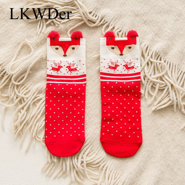 LKWDer High Quality Women's Socks Christmas Cute Santa Claus Deer Winter Meias Hosiery Cotton Warm Socks For Girl Christmas Gift