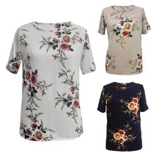 Summer Womens Casual Tops Short Sleeve Crew Neck Floral T-Shirt Ladies red floral print crew neck sleeveless gym tops