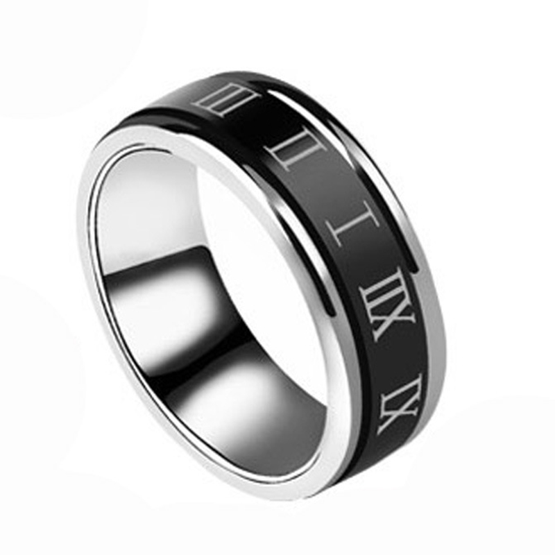 Wide 8mm Stainless Steel Wedding Ring Roman Number Black Cool Rotatable Punk Rings For Men Women Fashion Jewelry
