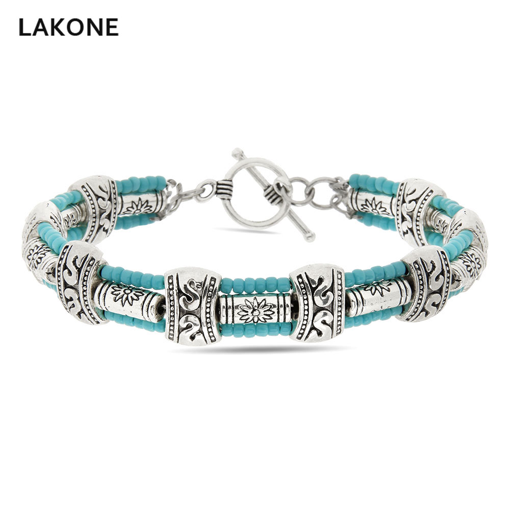 Turquoises Wrap Bracelet Southwestern Style Mens Beaded Bracelets Tibetan Silver Toogle Clasp Gift for Him Boho Jewelry